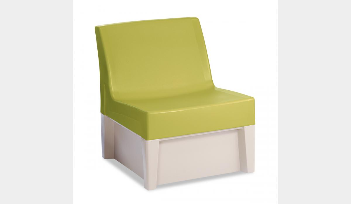 Forte Lounge Armless Chair - White Molded Base