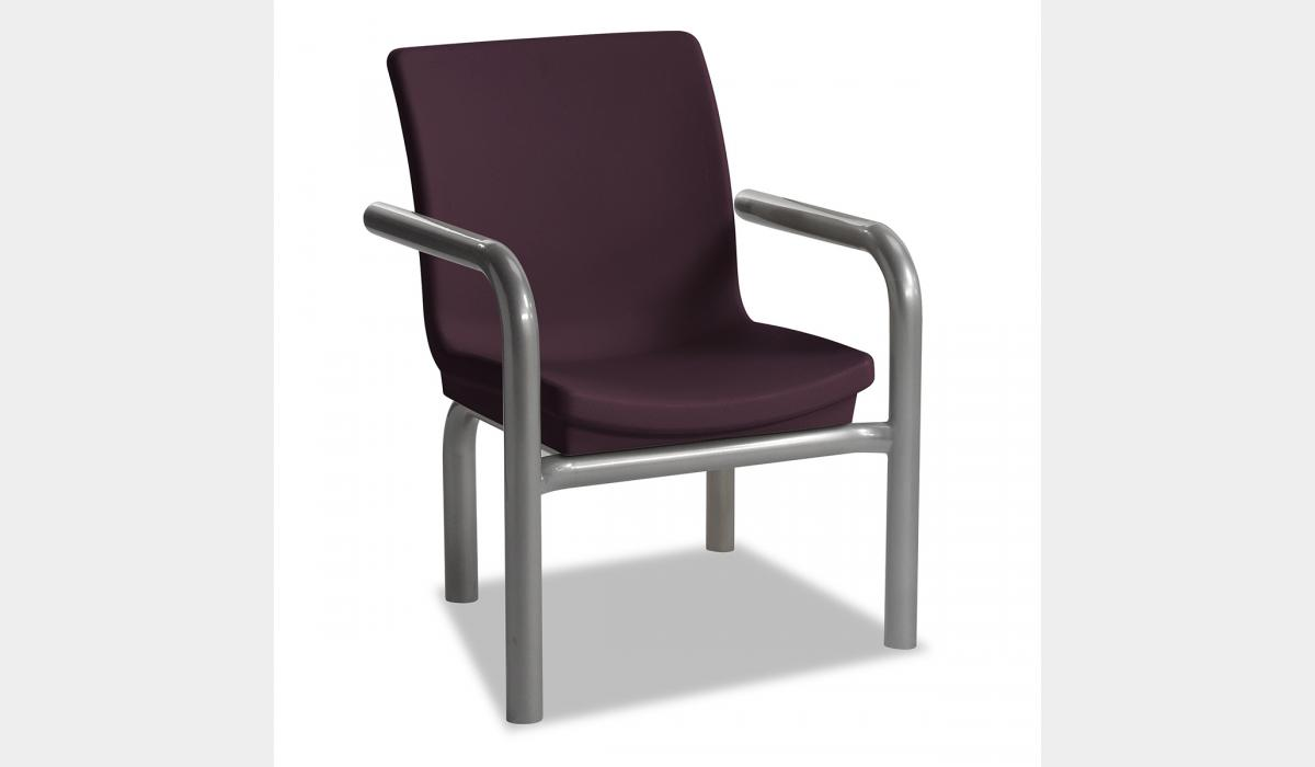 Gibraltar 1 Seat with End Arms - Wild Berry with Metallic Silver Frame