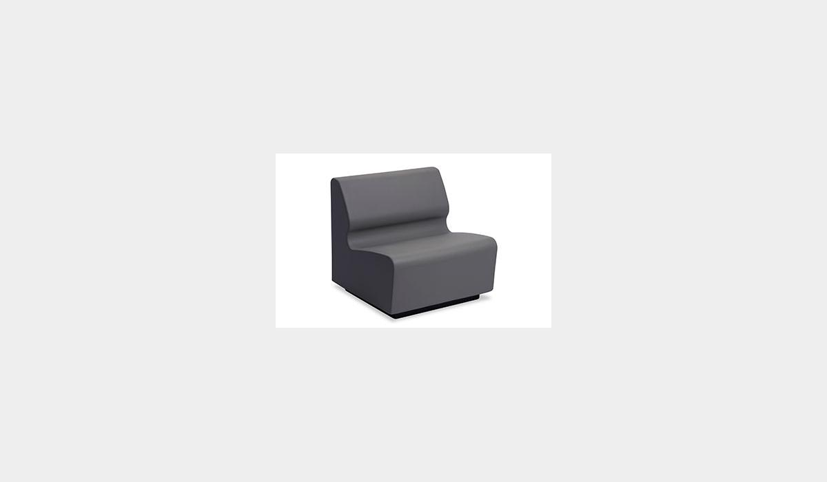Hondo Nuevo - 30 Armless Chair - Graphite with Molded Wood Walnut Forte Base